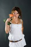 Beautiful girl with flower Royalty Free Stock Photos
