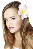 Beautiful girl with flower. Stock Photography