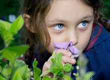 Beautiful girl with a flower. Beautiful girl with a purple flower Royalty Free Stock Photo