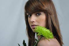 Beautiful girl with a flower Stock Photography