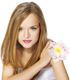 Beautiful girl with flower. Royalty Free Stock Photo