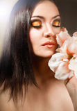 Beautiful girl with flower.. Royalty Free Stock Photography