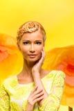 Beautiful girl on flower background Royalty Free Stock Image
