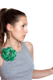 Beautiful girl with a flower brooch Royalty Free Stock Photos