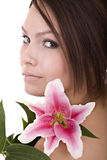 Beautiful  girl with flower. Face. Royalty Free Stock Photo