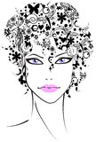 Beautiful girl with flower hair. Vector illustration Stock Images