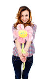 Beautiful girl with a flower Stock Images