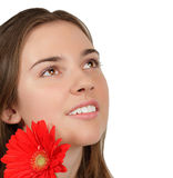 Beautiful girl with flower isolated on white stock photography