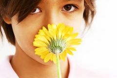 Beautiful girl and flower kiss Stock Photo