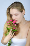 Beautiful girl with flower Royalty Free Stock Photography