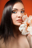 Beautiful girl with flower. portrait. Royalty Free Stock Image