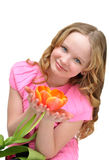Beautiful girl with flower tulip. Smile.Spring mood. Royalty Free Stock Images