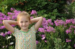Beautiful girl  in the flowers Royalty Free Stock Image