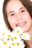 Beautiful girl with flowers Stock Photos