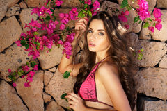 Beautiful girl and flowers. Beauty portrait of young beautiful girl posing against stone wall and pink flowers Stock Photo