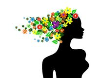 Beautiful girl with flowers in stock illustration