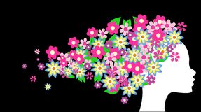 Beautiful girl with flowers stock illustration