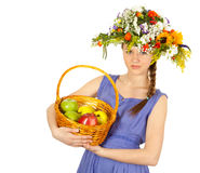 Beautiful girl with flowers and apples Stock Photos