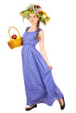 Beautiful girl with flowers and apples Royalty Free Stock Images