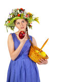 Beautiful girl with flowers and apples Stock Photo