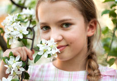 Beautiful Girl in flowers garden Stock Photography