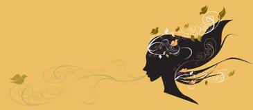 Beautiful girl with flowers in hair illustr Stock Photos