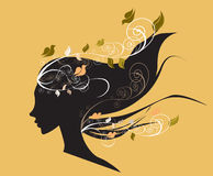 Beautiful girl with flowers in hair illustr Stock Photography