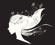 Beautiful girl with flowers in hair illustration Royalty Free Stock Photography