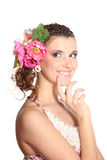 Beautiful girl with flowers in her hair Stock Photography