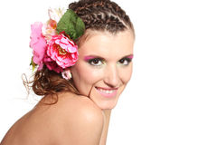 Beautiful girl with flowers in her hair Royalty Free Stock Photography