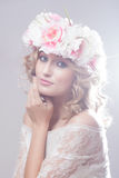 Beautiful girl with flowers in her hair. Royalty Free Stock Photo