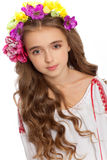 Beautiful girl with flowers in her hair  on white Stock Images