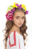 Beautiful girl with flowers in her hair  on white Royalty Free Stock Photo