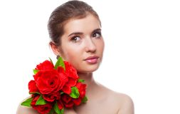 A beautiful girl with flowers Stock Images