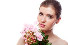 A beautiful girl with flowers Stock Photos