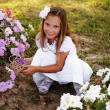 Beautiful girl in the flowers Royalty Free Stock Photography