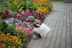 Beautiful girl in flowers park. Photo of little beautiful girl in flowers park Royalty Free Stock Images