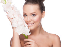 Beautiful girl with flowers Royalty Free Stock Images