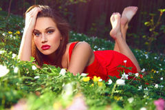 Beautiful girl with flowers. Stock Photo