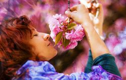 Beautiful Girl with flowers, Spring Magic. Sakura pink flowers Royalty Free Stock Photo