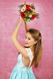The beautiful girl with flowers Stock Photo