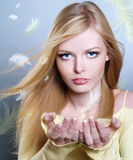 Beautiful girl with flying feathers Royalty Free Stock Photos