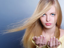 Beautiful girl with a flying  hair Royalty Free Stock Images