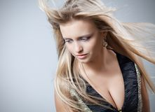 Beautiful girl with flying hair Royalty Free Stock Photography