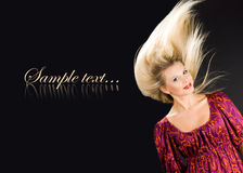 Beautiful girl with flying hairs Royalty Free Stock Photos