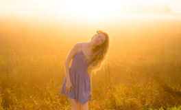 Beautiful girl in fog Royalty Free Stock Photography