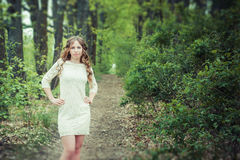 Beautiful girl on the footpath Stock Images