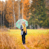 Beautiful Girl in Forest. Beautiful smiling blond girl in autumn forest Stock Photos
