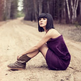 Beautiful girl in the forest Royalty Free Stock Photography