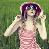 beautiful girl in the forest Stock Photography